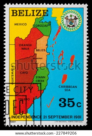 BELIZE - CIRCA 1981: a stamp from Belize shows a map with the regions of Belize, circa 1981 - stock photo