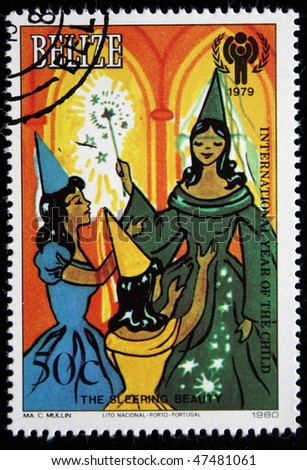 "BELIZE - CIRCA 1979: A stamp printed in Belize shows illustation to fairy tale ""Sleeping beaury"" by Charles Perrault, circa 1979"