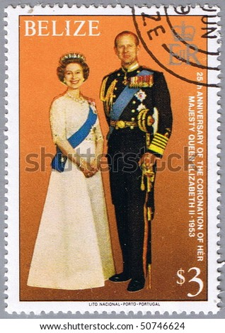 BELIZE - CIRCA 1979: A stamp printed in Belize shows the royal family, a series dedicated to 25-th anniversary of the coronation of Her Majesty Queen Elizabeth II, circa 1979 - stock photo