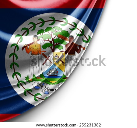 Belize flag and white background
