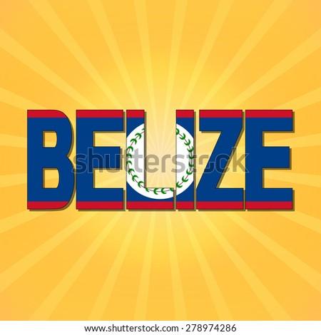 Belize flag text with sunburst illustration - stock photo