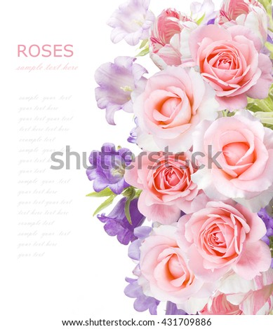 Bell and rose flowers background isolated on white with sample text