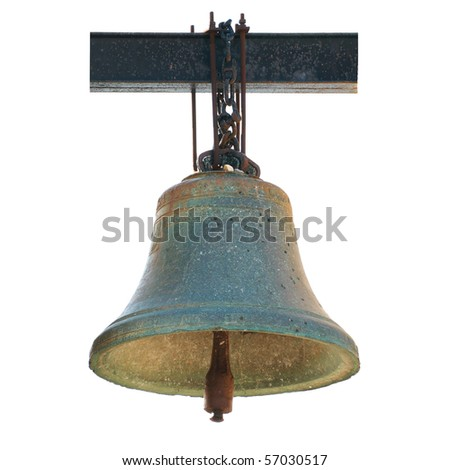 Bell from Notre Dame de Paris isolated on white. Now situated in Chersonese, Ukraine. - stock photo