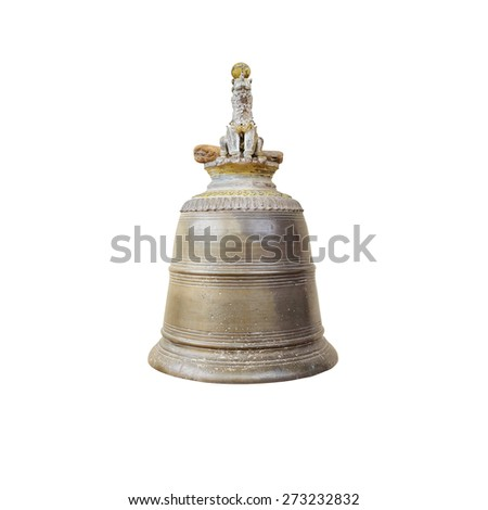 Bell from Wat Doi Ngam Muang isolated on white. Now situated in Chiangrai, Thailand. - stock photo