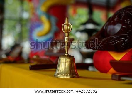 bell. handbell.small bell.buzzer, bell, metal Buddha image - stock photo