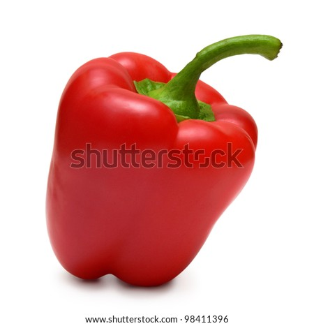 Bell pepper (bulgarian pepper) isolated on white. It is red, fresh, beautiful! - stock photo