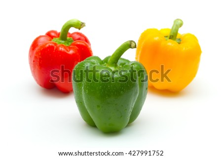 Bell pepper (capsicum) isolated on white background - stock photo
