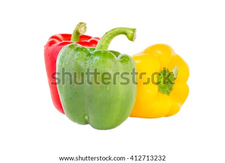 Bell pepper three colors red, yellow and green isolated on white background. clipping path in picture. - stock photo