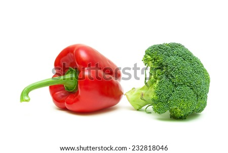 bell peppers and broccoli isolated on white background close-up. horizontal photo. - stock photo