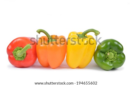 bell peppers isolated on white background - stock photo