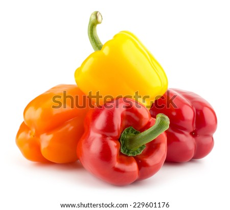 Bell peppers isolated on white background closeup - stock photo