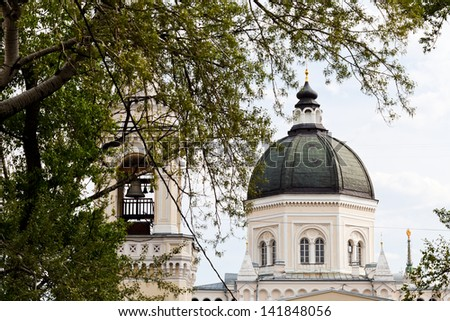 bell tower and cathedral of Ivanovsky Convent in Moscow - stock photo