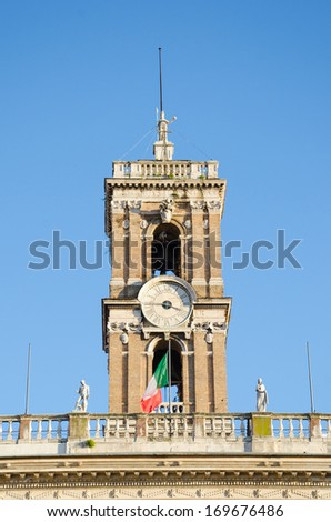 Bell tower at the Capitoline Hill in Rome, Italy - stock photo