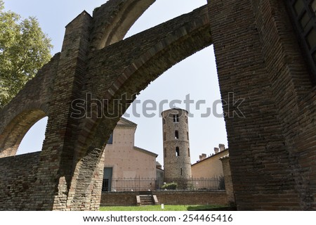 Bell Tower, dated 9th/10th Century, of the Church of Santa Maria Maggiore in Ravenna, Italy - stock photo