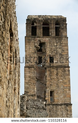 Bell Tower of ancient colonial cathedral of Panama Viejo,Panama city, Panama, Central America - stock photo