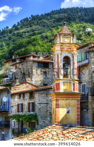 Bell Tower of Chapelle Saint-Jean in the Village of Luceram, Alpes-Maritimes, Provence, France - stock photo