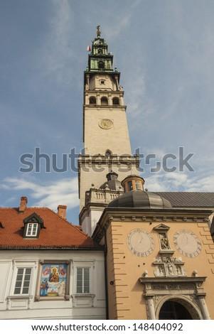 Bell tower of sanctuary in Jasna Gora - Czestochowa, Poland. - stock photo
