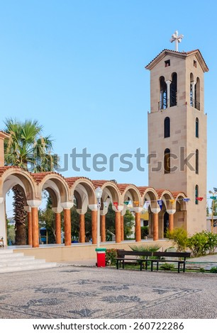 Bell tower of the church of Saint Nektarios. Faliraki  Rhodes Island. Greece - stock photo