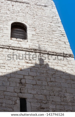Bell tower of the church of the Assumption in Rijeka's old town, Croatia - stock photo