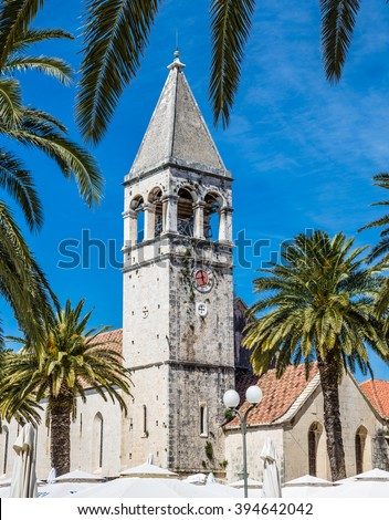Bell Tower of The Monastery Church of St. Dominic - Trogir, Northern Dalmatia, Croatia, Europe - stock photo