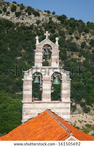 Bell tower of the Orthodox Church. The monastery Gradiste, Montenegro - stock photo