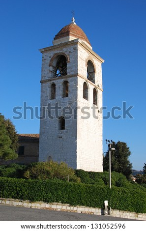 Bell tower of the Saint Ciriaco Cathedral in Ancona, Italy - stock photo