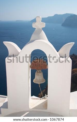 Bell tower, Santorini, Greece - stock photo