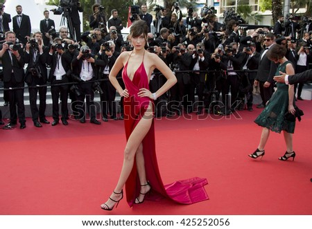 "Bella Hadid attending the ""The Unkown Girl (La Fille Inconnue)"" film premiere during The 69th Cannes Film Festival, on 18th May 2016 at Palais des festivals in Cannes, France. - stock photo"