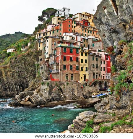 bella Italia series - colorful Riomaggiore village, Cinque terre - stock photo