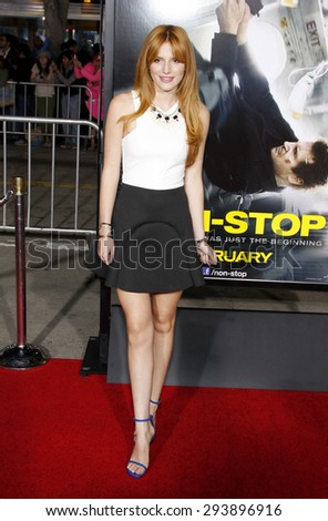 "Bella Thorne at the Los Angeles premiere of ""Non-Stop"" held at the Regency Village Theatre in Los Angeles on February 24, 2014 in Los Angeles, California.  - stock photo"