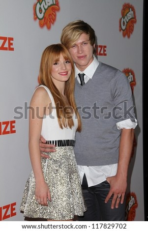 "Bella Thorne, Tristan Klier at the ""Fun Size"" Los Angeles Premiere, Paramount Studios, Hollywood, CA 10-25-12 - stock photo"