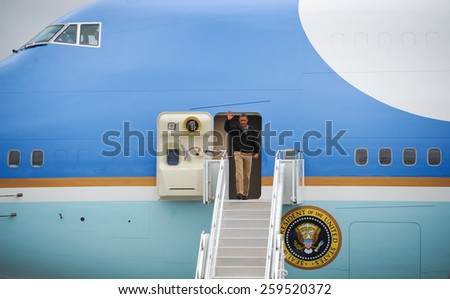 BELLEVUE, NE - AUG 13: US President Barack Obama arrives at Offutt Air Force Base, August 13, 2012 in Bellevue, Nebraska. - stock photo