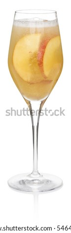 Bellini Cocktail - isolated on white - stock photo