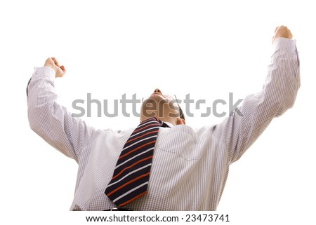 bellow perspective of a businessman winning reaction (selective focus) - stock photo