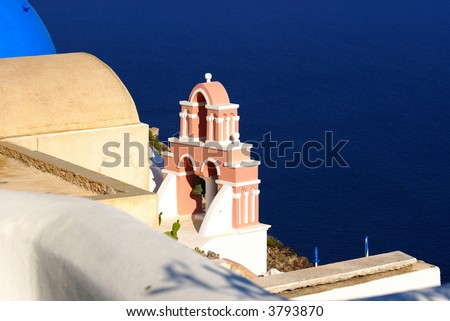 Bells and blue sea on Santrorini island, Cyclades, Greece - stock photo