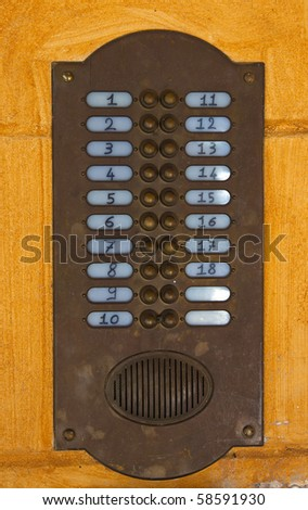 bells and intercom from a italian appartment - stock photo