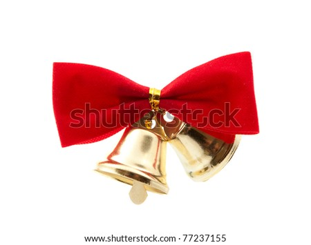 bells with a bow on a white background - stock photo