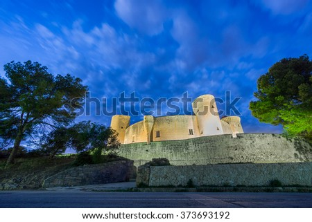 Bellver Castle at sunset in Majorca, wide angle - stock photo