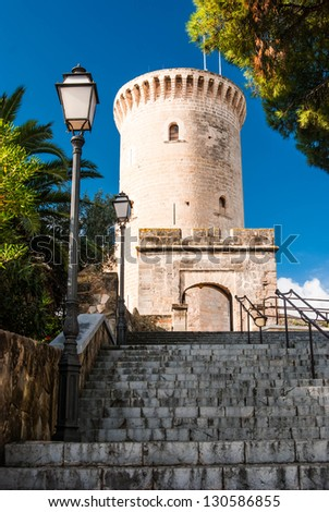 Bellver Castle, Castillo tower, in Majorca at Palma de Mallorca Balearic Islands