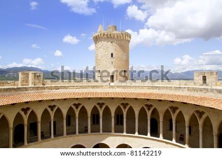 Bellver Castle Castillo tower in Majorca at Palma de Mallorca Balearic Islands - stock photo