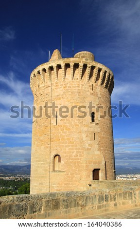 Bellver Castle in Palma de Mallorca. Palma de Mallorca, Spain - october 30, 2013 : The main tower of Bellver Castle, a medieval castle in Palma de Mallorca, Spain. - stock photo