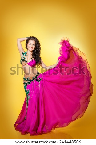 Belly dancer woman bellydance Beautiful arabian girl, sexy female,  gorgeous indian lady, studio isolated, series - stock photo