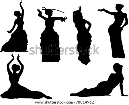 belly dancing black woman silhouette on white - stock photo