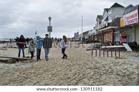 BELMAR, NEW JERSEY/USA - OCTOBER 30: Ocean Ave. full of sand the day after Hurricane Sandy on October 30 2012 in Belmar, NJ. - stock photo