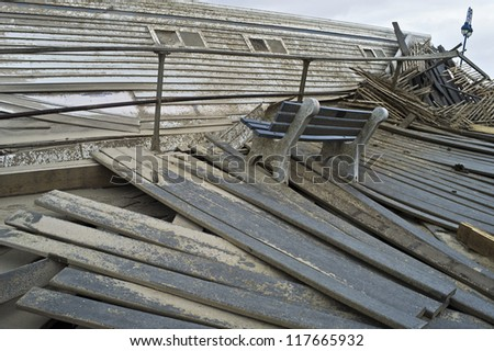 BELMAR, NEW JERSEY/USA - OCTOBER 30: The damaged boardwalk along the beach the day after Hurricane Sandy on October 30, 2012 in Belmar New Jersey. - stock photo