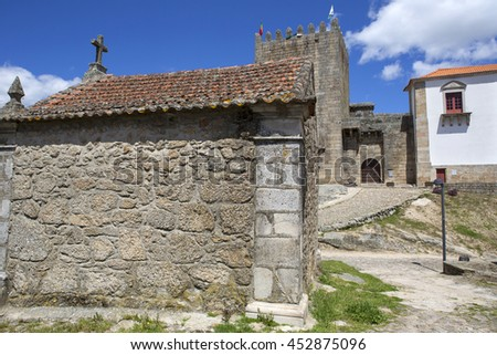 Belmonte castle and chaple. Historic village of Portugal, near Covilha - stock photo