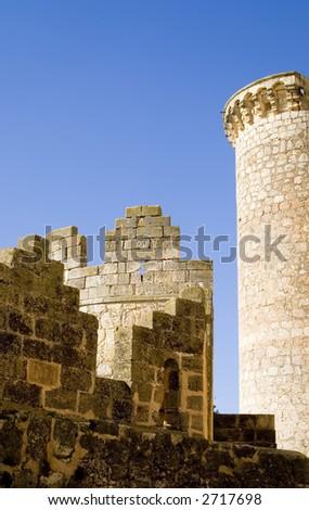 Belmonte Castle (Castillo de Belmonte) in Belmonte, Cuenca province, Castilla La Mancha, Spain. - stock photo