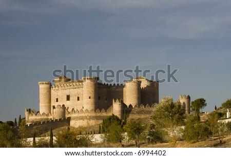 Belmonte Castle (Castillo de Belmonte) in Belmonte, Cuenca province, Castilla La Mancha, Spain - stock photo