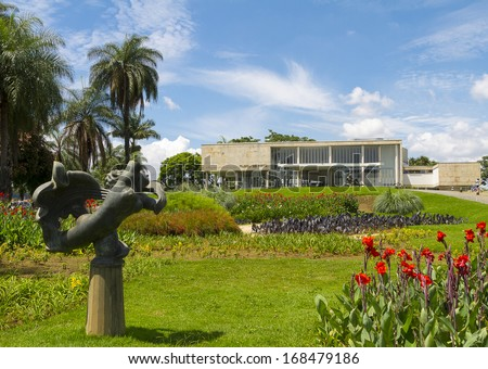 BELO HORIZONTE, BRAZIL - December 20 - An exterior view of the Art Museum of Pampulha, Belo Horizonte, Brazil, on December 20, 2013, in Belo Horizonte, Brazil, designed by architect Oscar Niemeyer  - stock photo