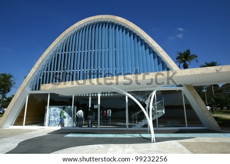 BELO HORIZONTE, BRAZIL - JULY 22: An exterior view of the church of Sao Francisco de Assis is shown July 22, 2005 in Belo Horizonte, Brazil. Built by Oscar Niemeyer it is also known as the Church of Pampulha. - stock photo